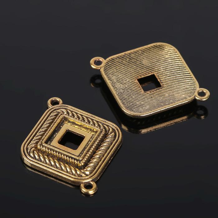 Коннектор (набор 4шт), площадка 10*10мм, Т197, цвет черненое золото