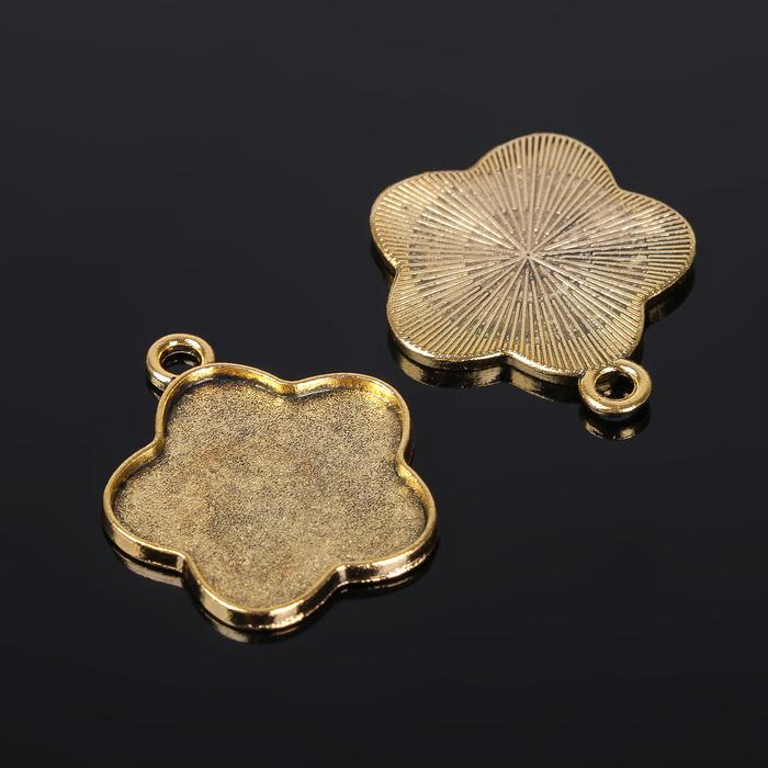 Рамка с сеттингом (набор 4шт), площадка 25мм, Т133, цвет черненое золото