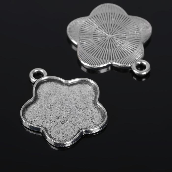 Рамка с сеттингом (набор 4шт), площадка 25мм, Т133, цвет черненое серебро