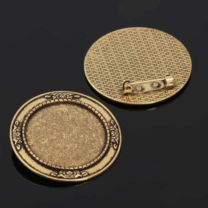 Основа для броши (набор 2шт), площадка 30мм, Х052, цвет черненое золото