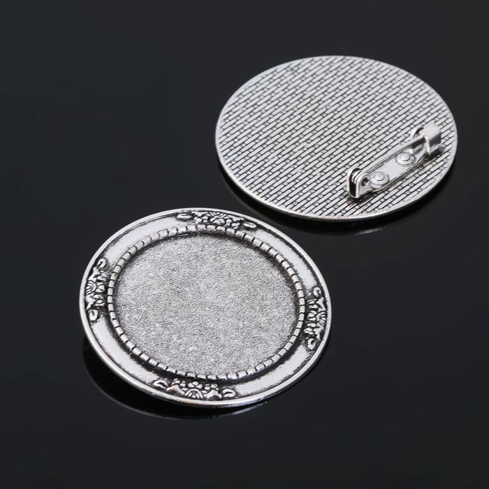 Основа для броши (набор 2шт), площадка 30мм, Х052, цвет черненое серебро
