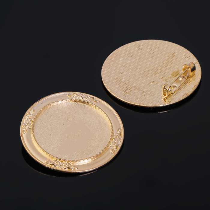 Основа для броши (набор 2шт), площадка 30мм, Х052, цвет золото