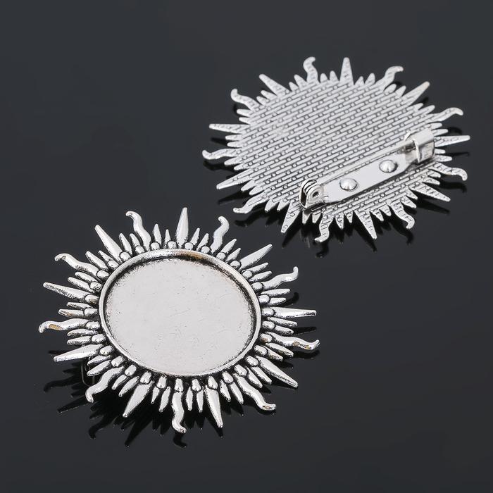 Основа для броши (набор 2шт), площадка 25мм, Х055, цвет черненое серебро