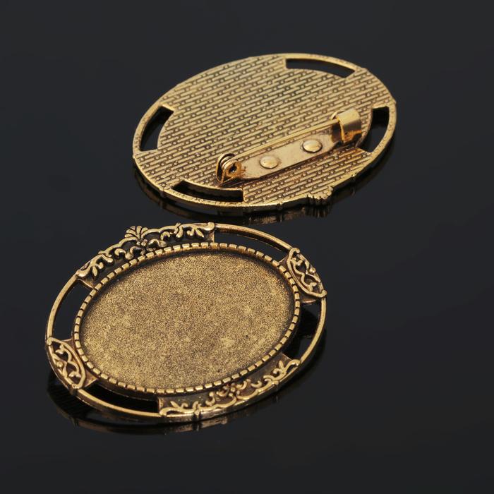 Основа для броши (набор 2шт), площадка 25*35мм, Х105, цвет черненое золото