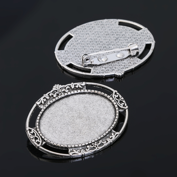 Основа для броши (набор 2шт), площадка 25*35мм, Х105, цвет черненое серебро
