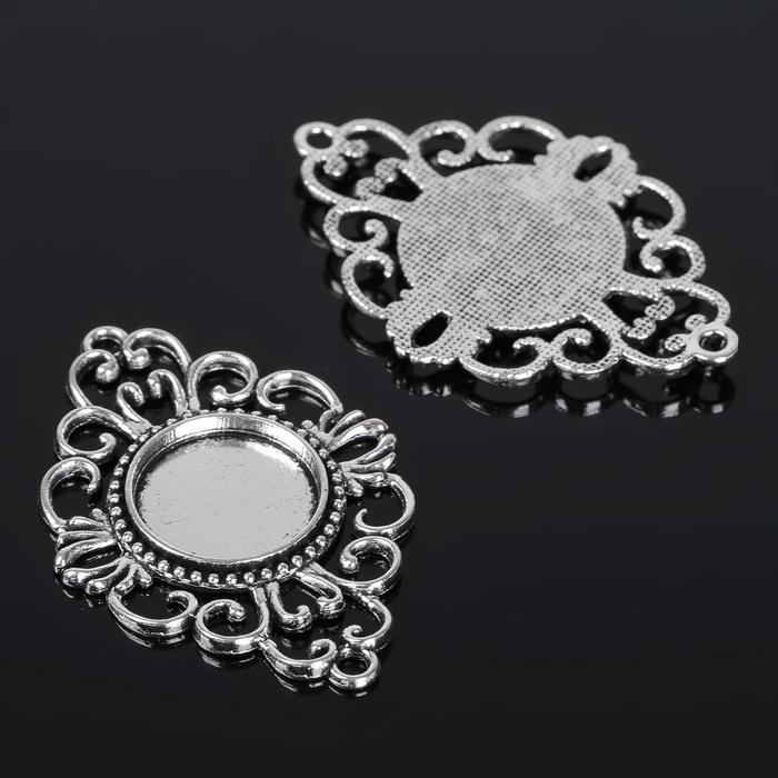 Коннектор (набор 4шт), площадка 18мм, JC-597, цвет черненое серебро