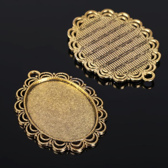 Рамка с сеттингом (набор 4шт), площадка 30*40мм, JC-598, цвет черненое золото