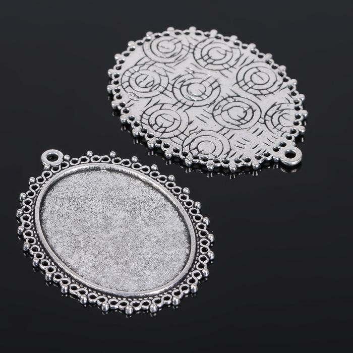 Рамка с сеттингом (набор 4шт), площадка 30*40мм, JC-601, цвет черненое серебро
