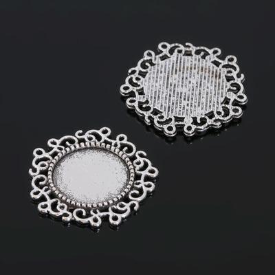 Рамка с сеттингом (набор 4шт), площадка 14мм, JC-611, цвет черненое серебро
