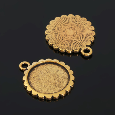 Рамка с сеттингом (набор 4шт), площадка 16мм, JC-612, цвет черненое золото