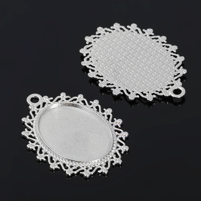 Рамка с сеттингом (набор 4шт), площадка 18*25мм, JC-620, цвет серебро