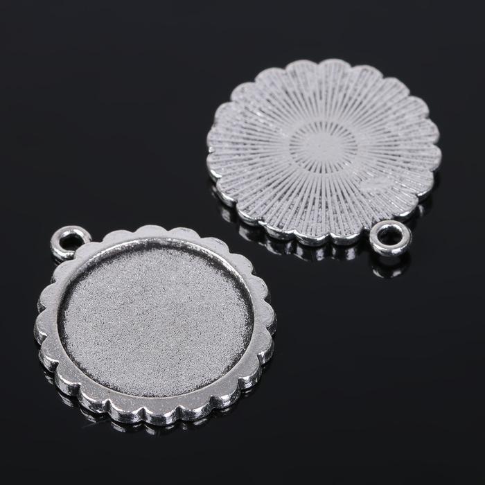 Рамка с сеттингом (набор 4шт), площадка 20мм, JC-623, цвет черненое серебро