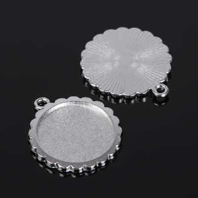 Рамка с сеттингом (набор 4шт), площадка 20мм, JC-623, цвет серебро