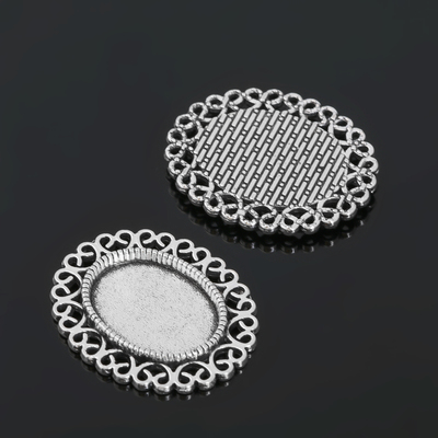 Рамка с сеттингом (набор 4шт), площадка 13*18мм, JC-626, цвет черненое серебро