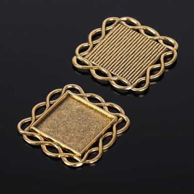 Рамка с сеттингом (набор 4шт), площадка 20*20мм, JC-628, цвет черненое золото