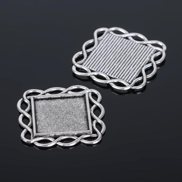 Рамка с сеттингом (набор 4шт), площадка 20*20мм, JC-628, цвет черненое серебро