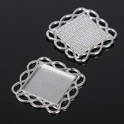 Рамка с сеттингом (набор 4шт), площадка 20*20мм, JC-628, цвет серебро