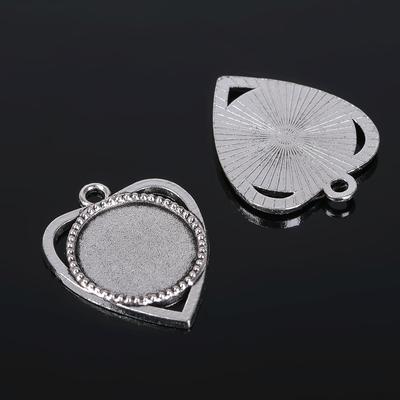 Рамка с сеттингом (набор 4шт), площадка 18мм, JC-630, цвет черненое серебро