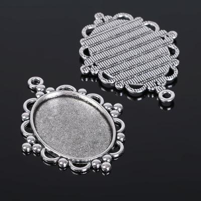 Рамка с сеттингом (набор 4шт), площадка 30-40мм, JC-640, цвет черненое серебро