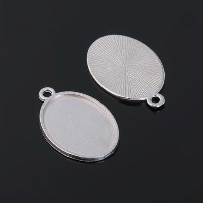 Рамка с сеттингом (набор 4шт) площадка 18*25мм, JC-657, цвет серебро
