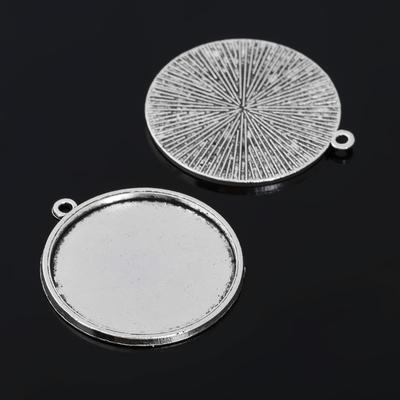 Рамка с сеттингом (набор 4шт) площадка 30мм, JC-670, цвет черненое серебро