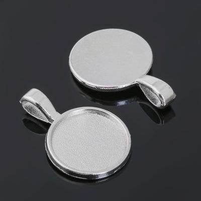 Рамка с сеттингом (набор 4шт) площадка 16мм, JC-695, цвет серебро