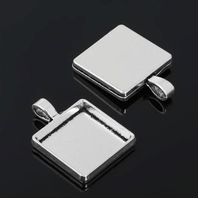 Рамка с сеттингом (набор 4шт) площадка 20*20мм, JC-702, цвет черненое серебро