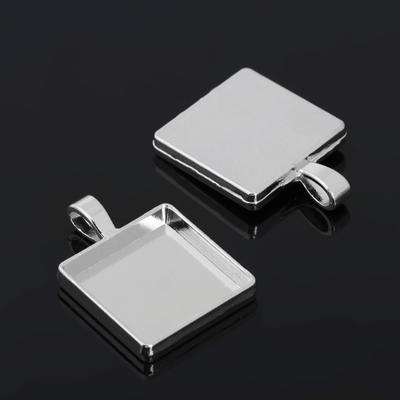 Рамка с сеттингом (набор 4шт) площадка 20*20мм, JC-702, цвет серебро