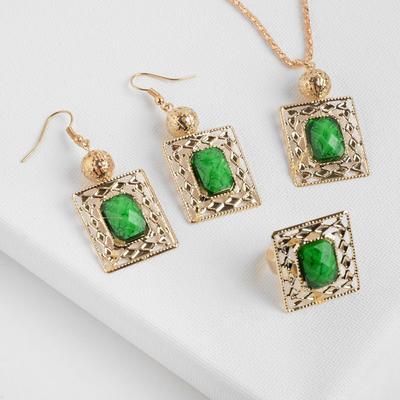 """Гарнитур 3 предмета: серьги, кулон, кольцо """"1000 и 1 ночь"""", прямоугольник, цвет зеленый"""