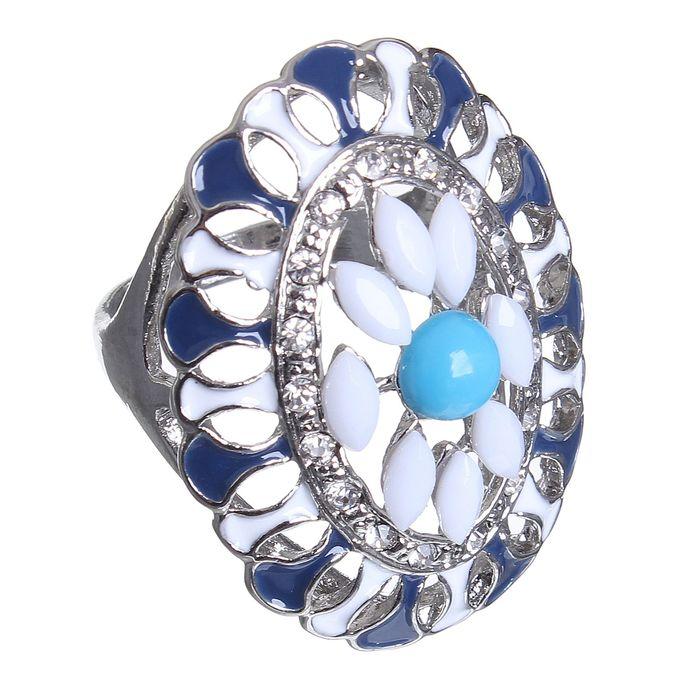 """Кольцо """"Цветок"""" в овале, цвет сине-белый в серебре, размер 17,18,19 МИКС"""