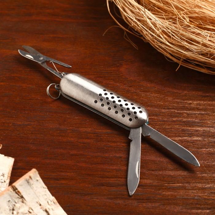 Нож складной сувенирный 3 в 1, рукоять металлик