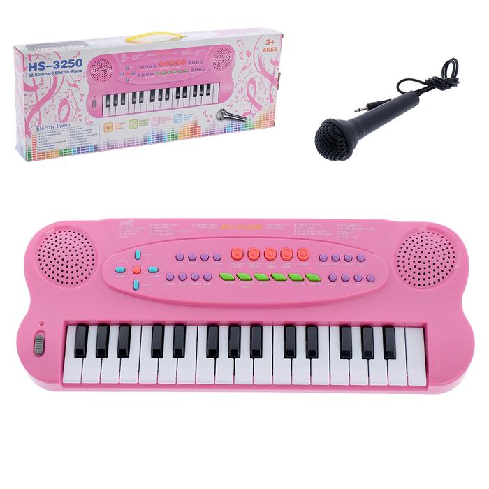 Синтезатор «Музыкант» с микрофоном, цвет розовый, 32 клавиши, работает от батареек