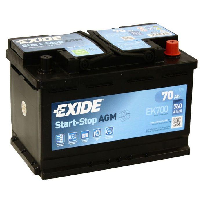 Аккумуляторная батарея Exide 70 Ач, обратная полярность Start-Stop AGM EK700
