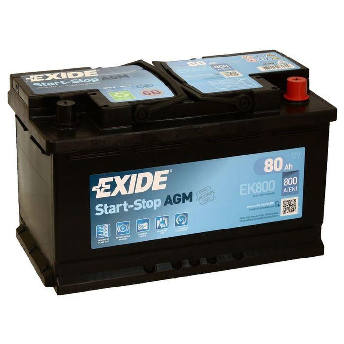 Аккумуляторная батарея Exide 80 Ач, обратная полярность Start-Stop AGM EK800