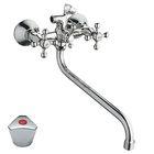 Cмеситель для ванны Cron CN2211, длинный излив, шаровый переключатель, хром