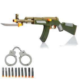 Набор военного «Задержание», наручники, автомат, стреляет присосками