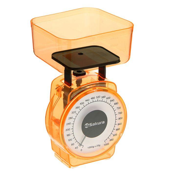 Весы кухонные Sakura SA-6018A, 1кг, механические, оранжевые