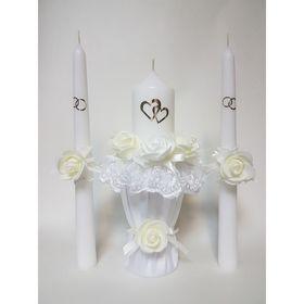 """Набор свечей """"Кружевной шик"""", цвет шампань: Домашний очаг 5.5×20, Родительские свечи 2.2×25"""