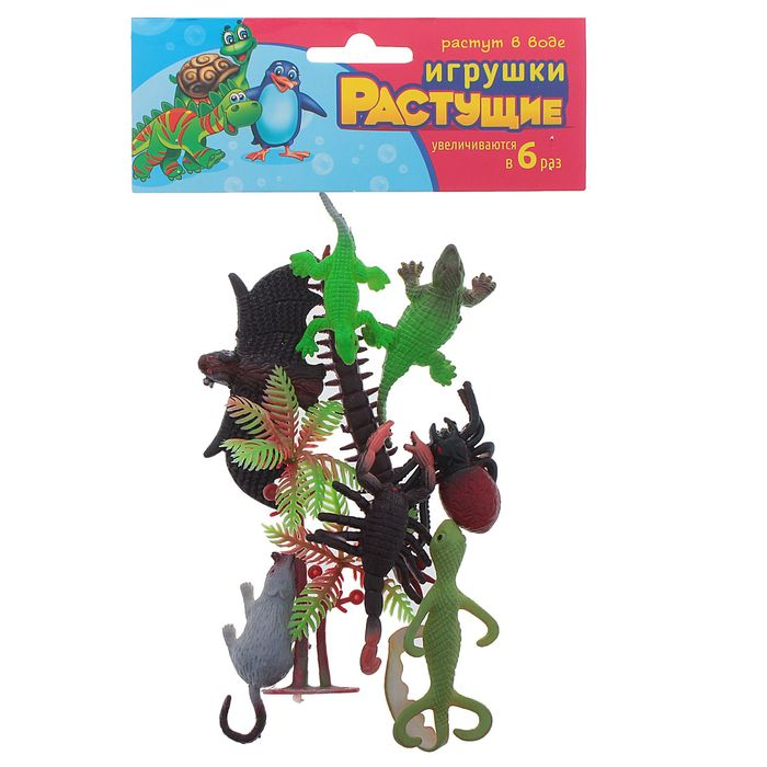 """Растущие животные """"Ужастики"""", набор 8 шт. + дерево"""