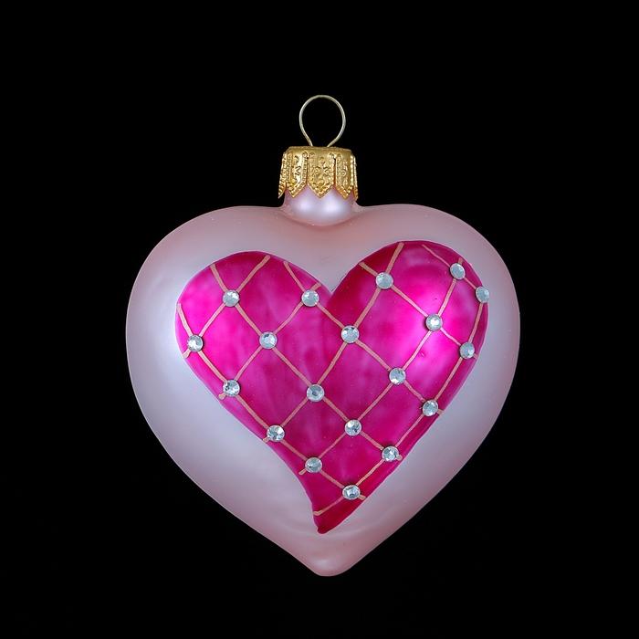"""Ёлочная игрушка """"Сердце в сиреневом сердце"""""""