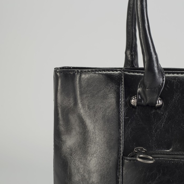 Сумка женская на молнии, отдел с перегородкой, 2 наружных кармана, цвет чёрный
