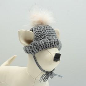 Вязаная шапочка с меховым помпоном, XS-S, объем головы 22, высота шапки 7,5 см  МИКС