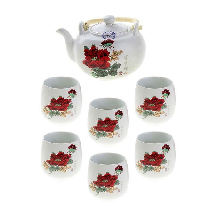 """Набор для чайной церемонии """"Май"""", 7 предметов: чайник 700 мл, 6 чашек 70 мл УЦЕНКА"""