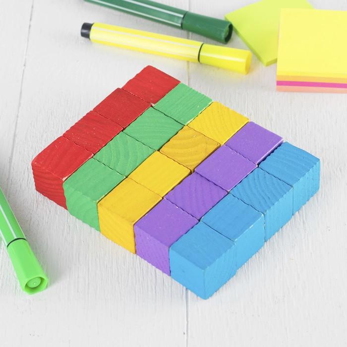 Обучающий материал , набор 20 кубиков: 2,5 × 2,5 см; цветные большие