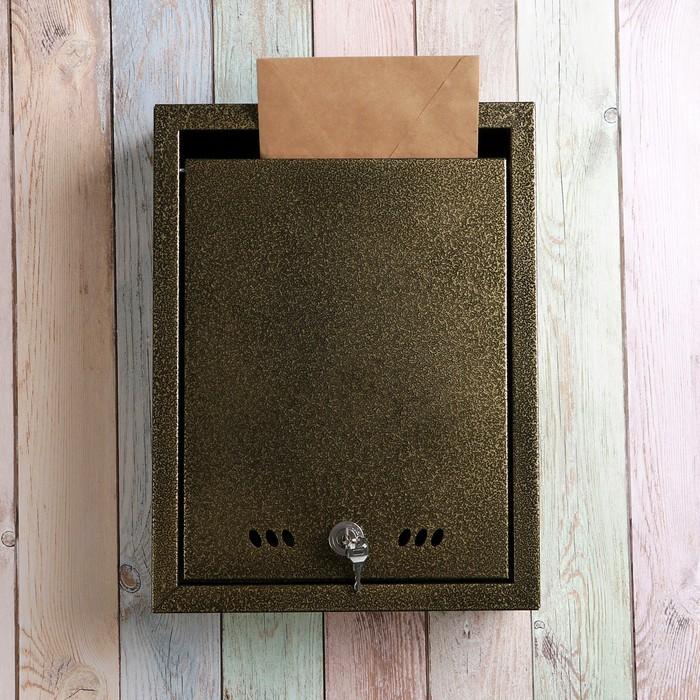 Ящик почтовый с замком, вертикальный «Тюльпан», антик бронзовый