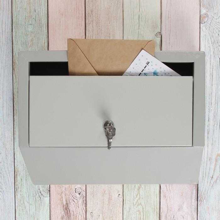 Ящик почтовый «Эталон», горизонтальный, с замком, серый