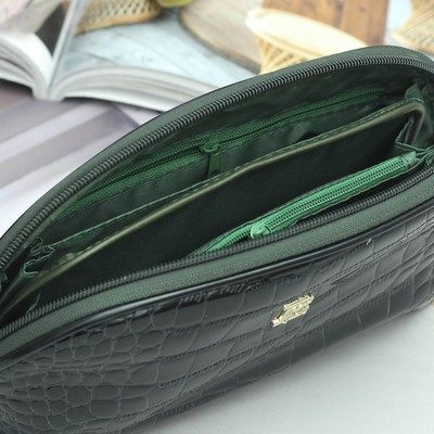 Клатч-косметичка женский, 4 отдела, с ручкой, цвет зелёный