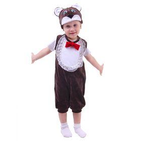 """Карнавальный костюм для мальчика от 1,5-3-х лет """"Медвежонок"""", велюр, комбинезон, шапка"""