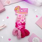 """Резинки для волос """"Прелесть"""" (набор 8 шт.), розовые цветы"""