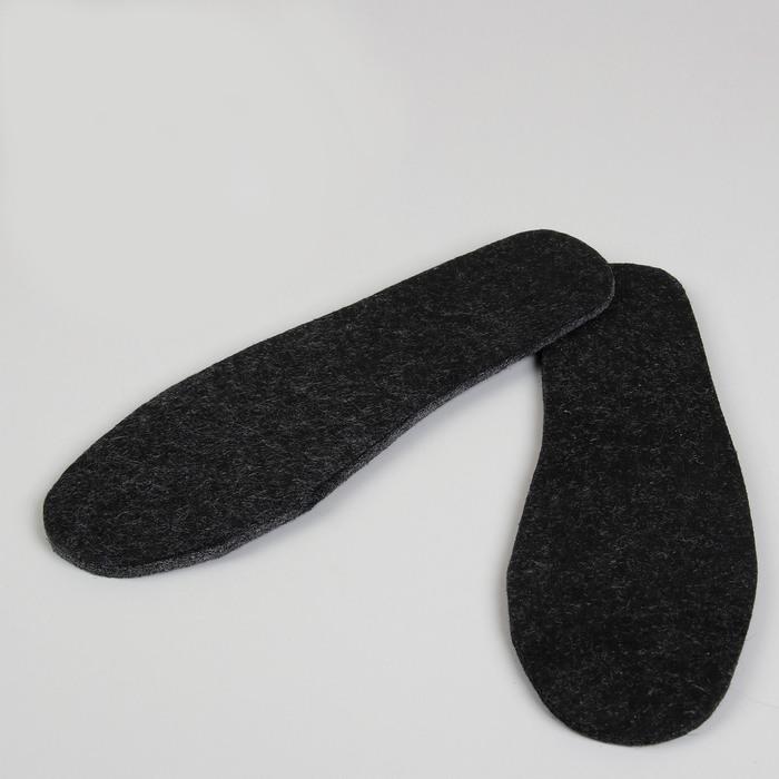 Стельки для обуви, толстые, 41 р-р, пара, цвет чёрный/серый